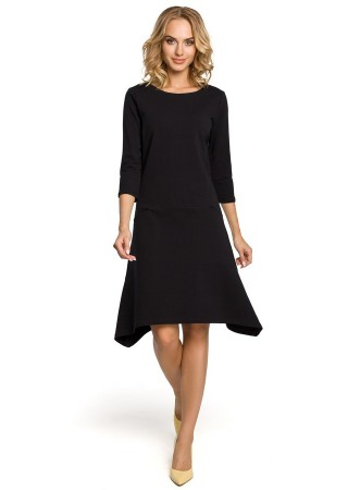 Stilīga kleita ar kabatām melna M328-black Moe Kleitas Greetha