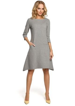 Stilīga kleita ar kabatām pelēka M328-grey Moe Kleitas Greetha