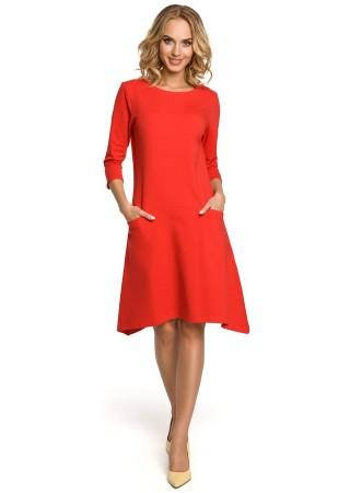 Stilīga kleita ar kabatām sarkana M328-red Moe Kleitas Greetha