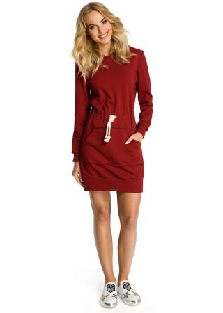 Sportiska stila kleita ar kapuci tumši sarkana M352-maroon Moe Kleitas Greetha