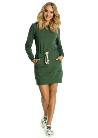 Sportiska stila kleita ar kapuci zaļa M352-military green Moe Kleitas Greetha
