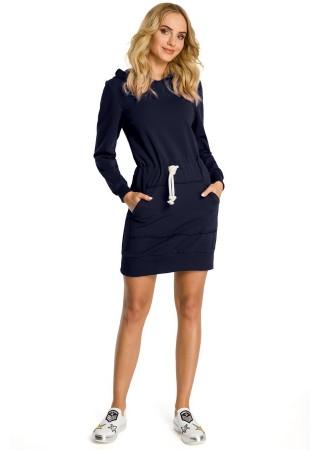Sportiska stila kleita ar kapuci zila M352-navy blue Moe Kleitas Greetha