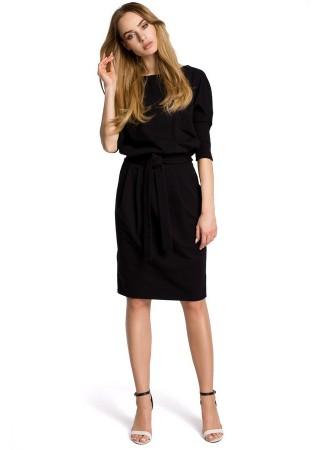 Eleganta kleita ar jostiņu melna M369-black Moe Kleitas Greetha