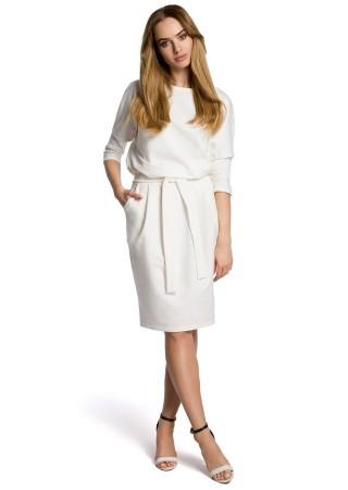 Eleganta kleita ar jostiņu balta M369-ecru Moe Kleitas Greetha