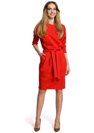 Eleganta kleita ar jostiņu sarkana M369-red Moe Kleitas Greetha