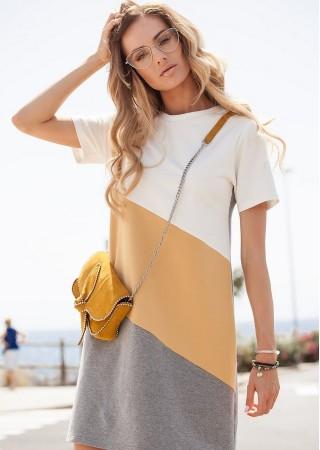 Stilīga kleita M373-yellow Moe Kleitas Greetha