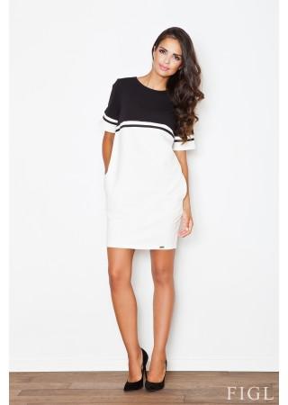 Stilīga kleita balta ar melnu 44452 Figl Kleitas Greetha