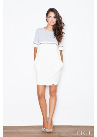 Stilīga kleita balta ar pelēku 44449 Figl Kleitas Greetha