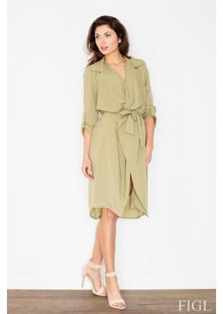 Stilīga kleita ar jostu salmu zaļa 60193 Figl Kleitas Greetha