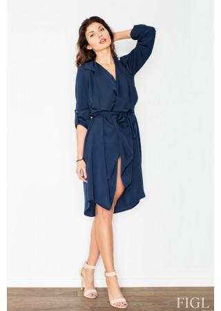 Stilīga kleita ar jostu tumši zila 60194 Figl Kleitas Greetha