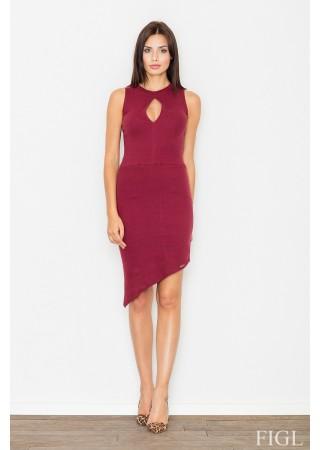 Asimetriska kleita vīna sarkana 62657 Figl Kleitas Greetha