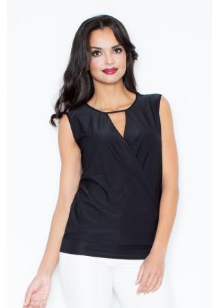 Elegants tops ar drapējumu melns 43864 Figl