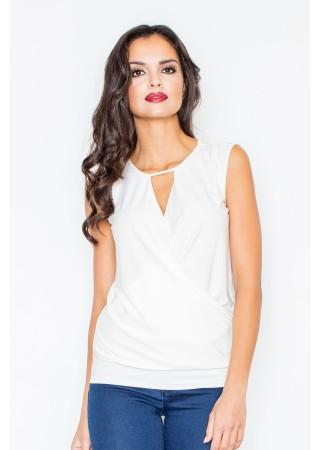 Elegants tops ar drapējumu balts 43865 Figl