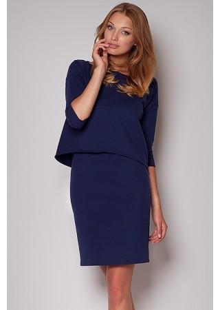 Stilīga kokvilnas kleita tumši zila 28047 Figl Kleitas Greetha