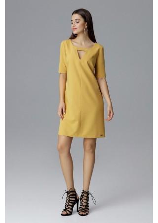 Brīva piegriezuma kleita dzeltena 126010 Figl Kleitas Greetha