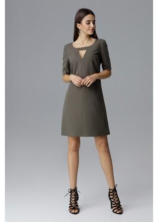 Brīva piegriezuma kleita olīvzaļa 126013 Figl  Greetha