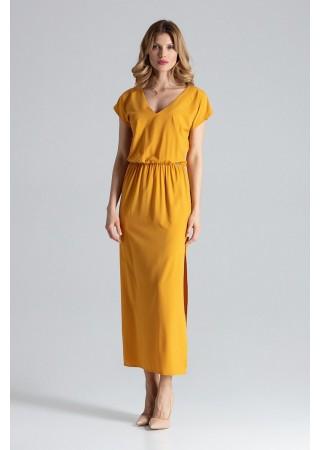 Skaista garā kleita dzeltena 132465 Figl Kleitas Greetha