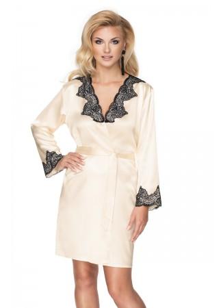 Elegants satīna halāts ar mežģīnēm šampanieša krāsā 137837 Irall Nightwear, Sleepwear for Women Greetha