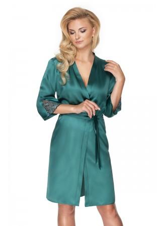 Elegants satīna halāts ar mežģīnēm smaragdzaļš 137840 Irall Nightwear, Sleepwear for Women Greetha