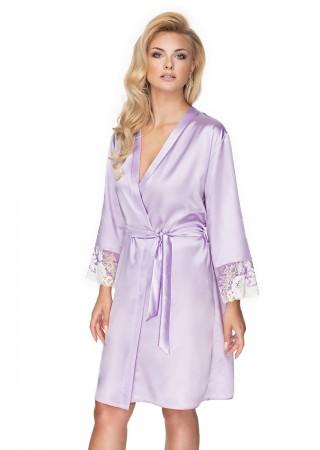 Elegants satīna halāts ar mežģīnēm gaiši violets 137843 Irall Naktskrekli, Pidžamas, Halāti Greetha
