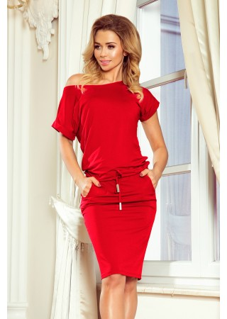Sportiska stila kleitiņa koši sarkana 139-4 Numoco Kleitas Greetha
