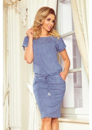 Sportiska stila kleitiņa ar džinsu raksta imitāciju 139-6 Numoco Kleitas Greetha