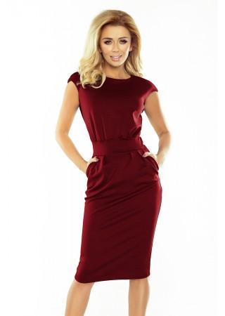 Sara Formu izceļoša kleita ar kabatām tumši sarkana 144-7 Numoco