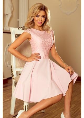 Sievišķīga kleita ar mežģīnēm maigi rozā Numoco