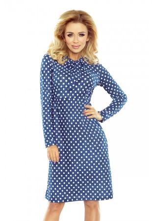 Stilīga kleita ar žabo zila ar punktiņiem Numoco Kleitas Greetha
