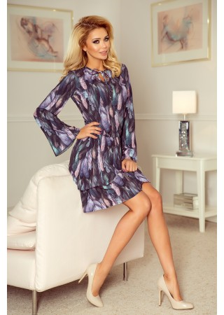 Viola Pievilcīga kleita zila ar violetu Numoco Kleitas Greetha