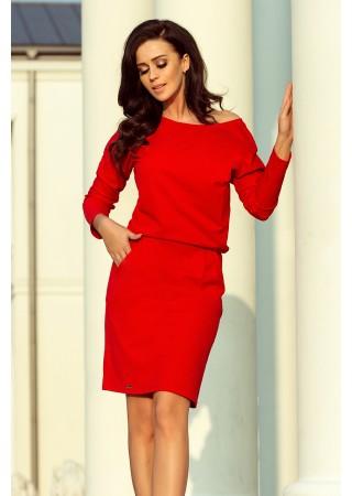 Brīva piegriezuma kleita sarkana 189-4 Numoco Kleitas Greetha