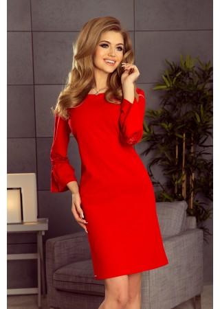 Brīva piegriezuma kleita ar mežģīnēm sarkana Numoco Kleitas Greetha