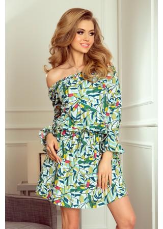 Vasaras kleita ar tropisko putnu apdruku zaļa Numoco Kleitas Greetha