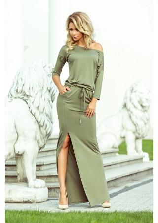 Garā kleita ar šķēlumu olīvzaļa 220-1 Numoco Kleitas Greetha