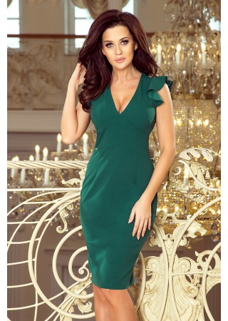Eleganta kleita Megan zaļa 227-1 Numoco Kleitas Greetha