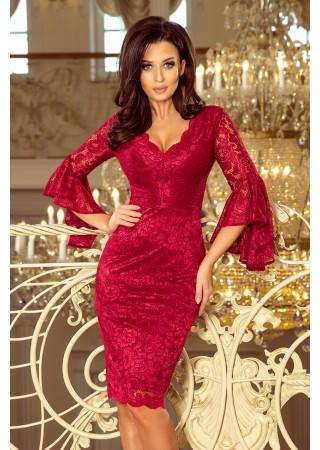 Eleganta mežģīņu kleita ķiršu sarkana 234-1 Numoco Kleitas Greetha