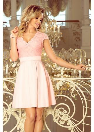 Anna Eleganta kleita ar mežģīnēm gaiši rozā 242-1 Numoco Kleitas Greetha