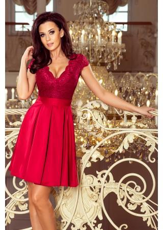 Anna Eleganta kleita ar mežģīnēm ķiršu sarkana 242-2 Numoco Kleitas Greetha