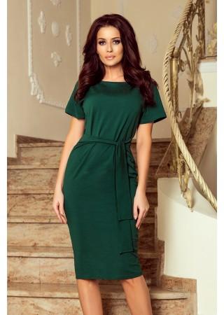 Eleganta kleita Vera ar jostiņu tumši zaļa 248-1 Numoco Kleitas Greetha