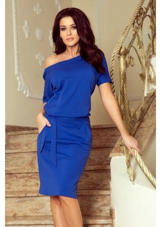 Cassie kleita ar jostiņu zila 249-1 Numoco Kleitas Greetha