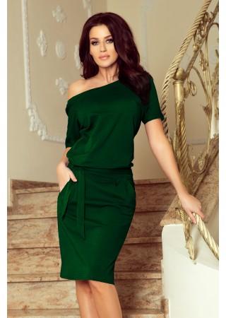 Cassie kleita ar jostiņu zaļa 249-2 Numoco Kleitas Greetha