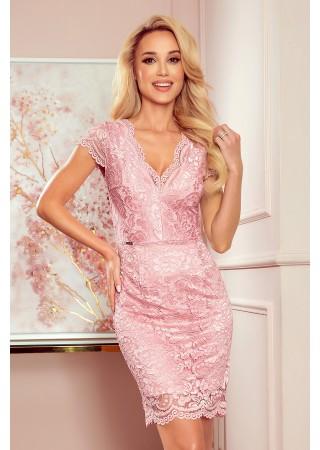 Bodycon mežģīņu kleita pēŗļu rozā 316-6 Numoco Kleitas Greetha