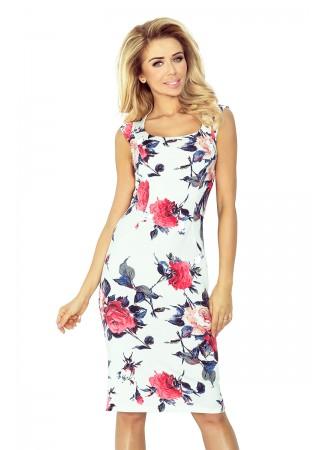Skaista kleita balta ar sārtu rožu apdruku 53-30 Numoco Kleitas Greetha