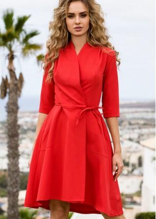 Wrap stila kleita sarkana Style Kleitas Greetha