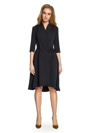 Wrap stila kleita melna Style Kleitas Greetha
