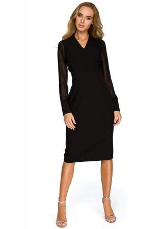 Kleita ar šifona piedurknēm melna S136-black Style Kleitas Greetha