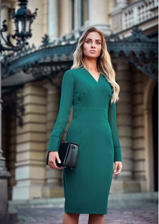 Kleita ar šifona piedurknēm zaļa S136-green Style Kleitas Greetha