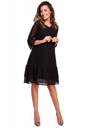 Šifona kleita melna S160-black Style Kleitas Greetha