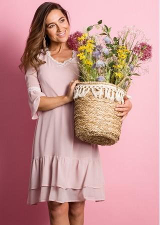 Šifona kleita pūdera rozā S160-powder Style Kleitas Greetha