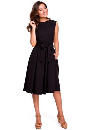 Eleganta kleita ar jostiņu melna S161-black Style Kleitas Greetha